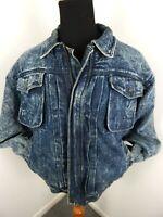 Vintage Levis Denim Jacket Sherpa Lined Retro 80s Acid Wash Men L Large