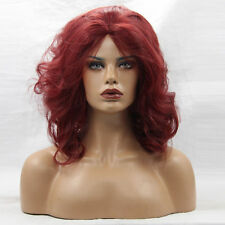 Rihanna style dark red curly shaggy bob women short wig female Lace Front Wigs