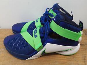 Nike Zoom Lebron Soldier IX 9 US Sprite Royal Lime 749417-441 Men's Size 14