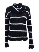 Chelsea Sky Women's Striped Cowl-Neck Sweater (XS, Black White)
