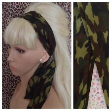 GREEN CAMO CAMOUFLAGE COTTON HEAD SCARF HAIR BAND SELF TIE BOW URBAN ARMY GIRL