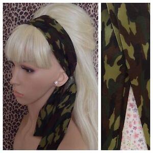 GREEN CAMO CAMOUFLAGE COTTON HEAD SCARF HAIR BAND SELF TIE BOW URBAN ARMY GIRL