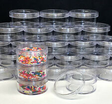 200 Cosmetic Jars Empty Plastic Beauty Containers 50 Gram 50 ml Clear Caps #3057