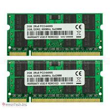 Samsung Chip 4GB 2x2GB PC2-6400 DDR2-800MHz 200Pin Sodimm Laptop Notebook Memory