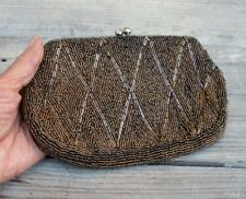 Vintage Mid Century Bronze Beaded Silk Lined Evening Purse Made in Japan