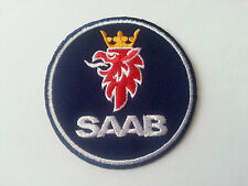 MOTORSPORTS MOTOR RACING CAR SEW / IRON ON PATCH:- SAAB (d) BLACK