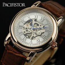 PACIFISTOR Mens Skeleton Mechanical Wrist Watch Steampunk Leather Russian Design