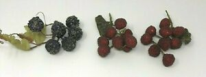 Vintage Artificial Grapes Clusters Beaded Red Purple Set of 3