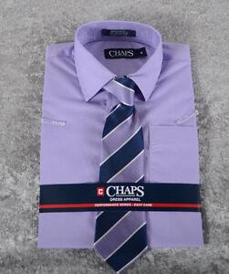 Boys Chaps Long Sleeve Dress SHIRT & TIE Purple Lavender Size 4 5 6 7 8 12 14