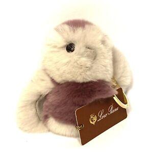 LORO PIANA Rabbit Fur Owl Bird Keychain Bag Charm Purple (MSRP $525)
