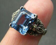 Stunning EMERALD CUT BLUE TOPAZ Marcasite Trim STERLING SILVER RING Gothic!! 7