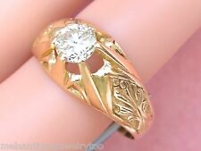 ANTIQUE .85ct EURO DIAMOND SOLITAIRE 18K MENS UNISEX RING 1930 sz11.75 ARGENTINA