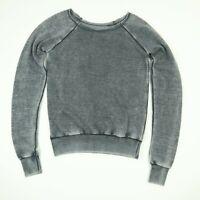 Raglan Burnout Sweatshirt Womens sz SMALL w/ XL Sleeves Retro Faded Gray Soft