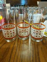 Vintage Glass Wicker Basket Rattan Weave Tumblers Tan Set of 3