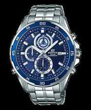 Casio Edifice Efr-547d-2a Men Analog Blue Dial Stainless Steel Stopwatch Watch