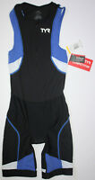 TYR Mens XS Black Blue White Front Zip Trisuit Shortjohn COMPETITOR USA Made New