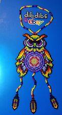 Rainbow Owl Dream Catcher perler art necklace rave kandi edc hama art plur bead