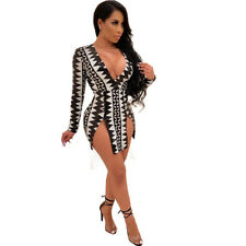 Sexy Womens V Neck Party Bodycon Slit Party Cocktail Clubwear Casual Mini Dress