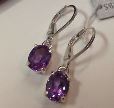 GORGEOUS 2.3ctw Color Change Alexandrite & Sterling Silver Earrings Oval Cut NWT