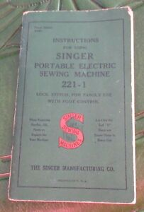 VINTAGE SINGER PORTABLE ELECTRIC SEWING MACHING INSTRUCTION BOOKLET - 221-1