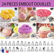 Embout poches à douilles 24 pièces Réutilisable pour Décoration de Gâteaux Crème