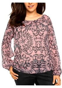 Women's New Pink long sleeve Chiffon Blouse Plus Size 16-26 ornamental pattern