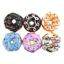 Plastic Donut Ornaments With Ivory Gingham Ribbon, 3-Inch, 6-Piece