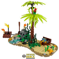 Desert Island - Pirate Treasure Chest, Raft, Skull Rock & Palm | All parts LEGO