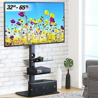 """32""""-65"""" TV Stand Tempered Glass Base Metal Swivel Mount Entertainment Center"""