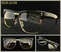 Mens Classy Elegant Retro Style Clear Lens EYE GLASSES Square Gold & Black Frame