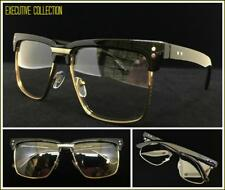 c25ccd2b035 Mens Classy Elegant Retro Style Clear Lens EYE GLASSES Square Gold   Black  Frame