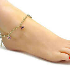 Brand New 9CT Gold Filled Charm Anklet, Butterfly & Rolo Design, Pink Enamel E99