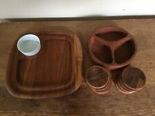 Vintage Dansk Teak Quistgaard Coaster Chip Dip Tray Snack Bowl Danish Modern Lot