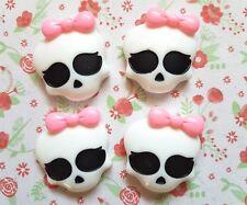 4 x Monster High Girl Skull Bow Flatback Resin Embellishment Crafts Hairbow UK