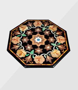 "30"" Marble Coffee / side Table Top Handmade Semi precious stones Inlay"