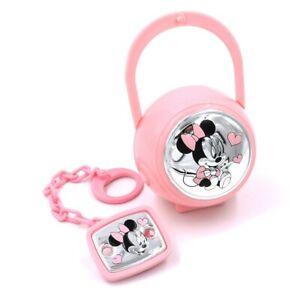 Disney Minnie Mouse Set Box e Spilla Porta Ciuccio con Catena Rosa