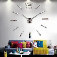 Modern Needle Wall Clock Quartz Watch 3D Acrylic Mirror Living Room Sticker DIY