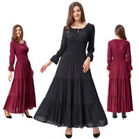 Wine Retro Vintage Style 50S Long Sleeve Cotton Summer Evening Maxi Swing Dress