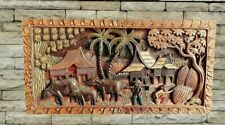 More details for hand carved wall panel, intricate wood art carving, thai carved teak wall plaque