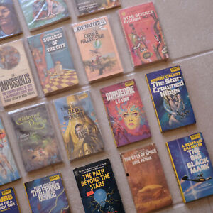 RARE Lot 20 Vintage Sci Fi Fantasy Fiction Books & magazines 70s DAW, Asimov