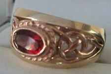 Welsh 9ct Clogau Yellow & Rose Gold Garnet Celtic Ring h/m 1994 -  size P