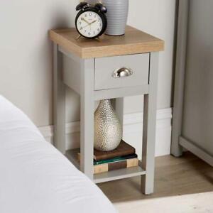 Grey Oak Narrow Bedside Cabinet 1 Drawer Lamp Side Table Night Stand Avon