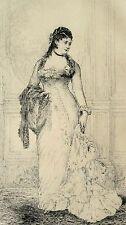 Eau forte de de Mare, Portrait Mme L.d'O, Salon 1877