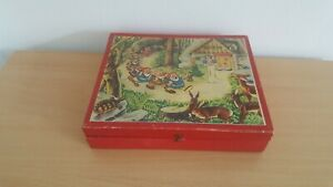 Vintage fairytale wooden cube puzzle with six scenes