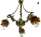 Antique Empire  Chandelier Putti Cherubs Angels 3 arm Lights Amber Shades Lovely