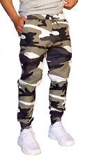 MENS CUFF PANTS GREY WHITE CAMO COTTON DRILL TAPERED LEG JOGGERS TRACKIES CUFFED