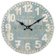 Nautical Wall Clock Life Is Good at The Beach Blue Shabby Chic 34 Cm
