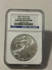 U.S. 2007 AMERICAN SILVER EAGLE $1 NGC GEM UNCIRCULATED EARLY RELEASES