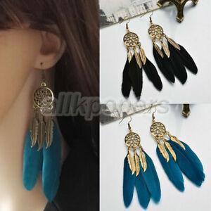 Women Bohemian Earrings Long Tassel Fringe Boho Feather Dangle Jewelry