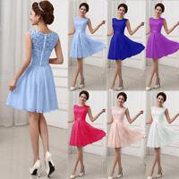 Women's Short Lace Chiffon Dress Formal Ladies Mesh Bridesmaid Ball Gown Dresses